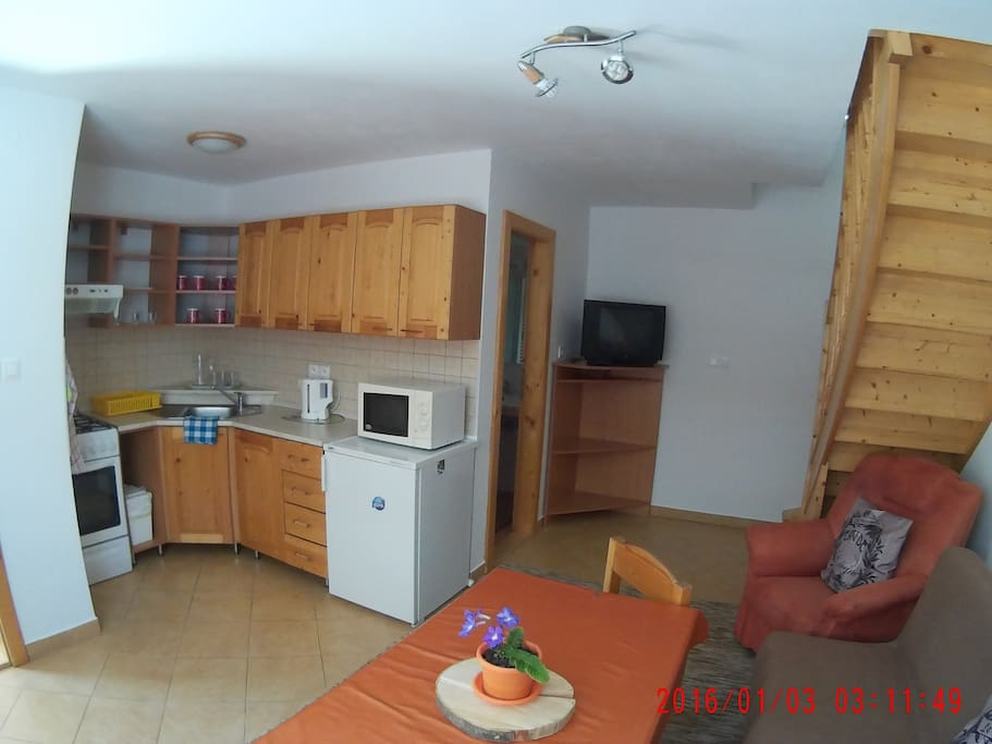 Apartment one, kitchen with living room