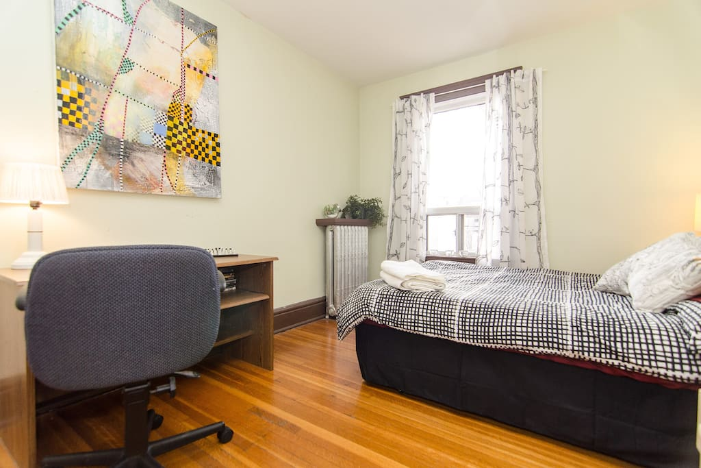 Desk and office chair in your bedroom.