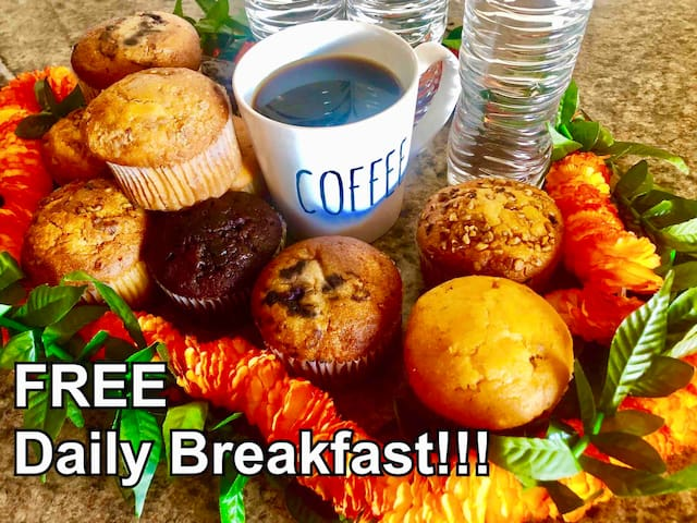 Free coffee or water plus 1 muffin every morning.  Come down to the mini mart on 1st floor, show key fob.