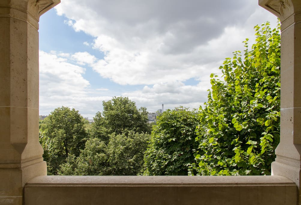 The private apartment balcony overlooking the Champ de Mars park