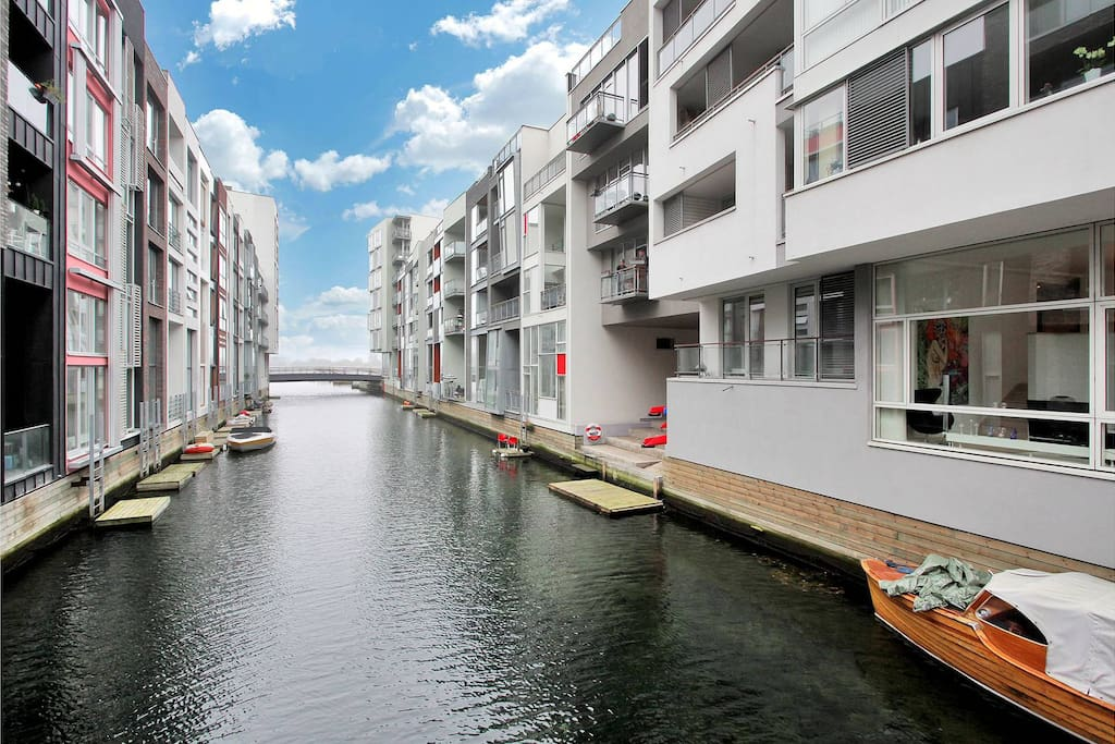 The canals between the buildings