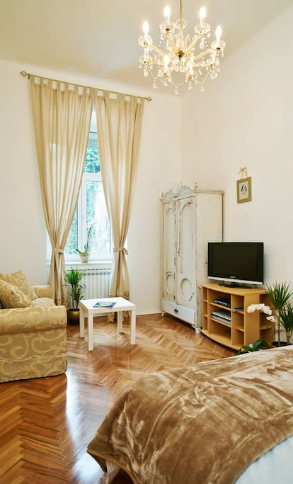 Large Room with Double Bed; Extendable sofa, Antique Shabby Chic wardrobe (purchased in Varazdin area) and pretty crystal chandelier