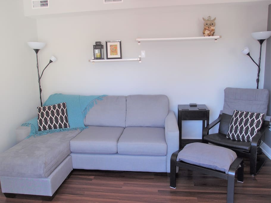 Living room with a pullout couch (double, gel mattress)