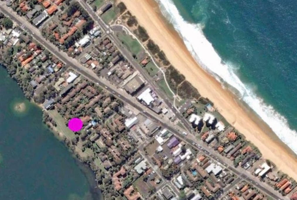 Walking distance to the beach and next door to the lagoon