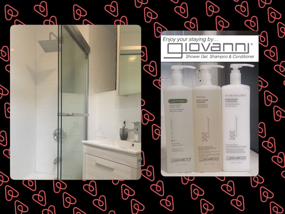 Very Clean Bathroom with Name Brand Shampoo, Conditioner, Shower Gel & Lotion. Refresh with HOT Water!!!