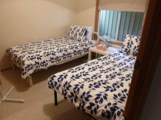 Second room with 2 single beds, electric blankets and fan