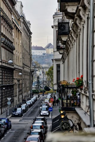 Street view from balcony (Chain Bridge & Buda Castle in the background)