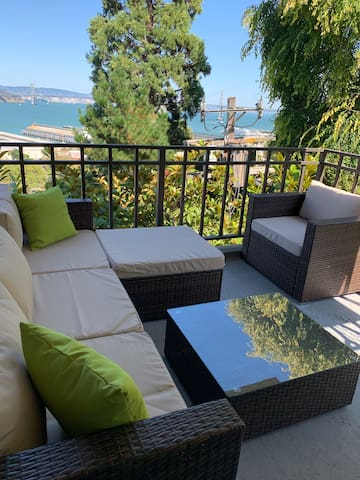 Your exclusive use outdoor patio with great views of the bay and bridge. You'll love sitting here at night and