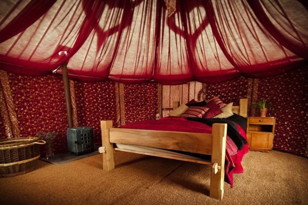 Our luxury yurts for two are sumptuous places to sleep.