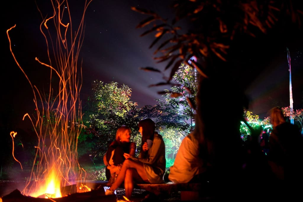 Enjoy an evening under the stars, warm and toasty by the big fire pit.