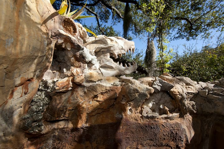 Rock Crystals & Dinosaur Fossils above jacuzzi. Photo by Ari Abramczyk