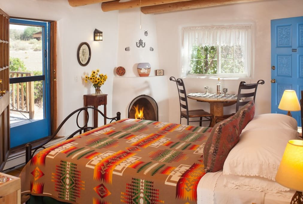 The Casita offers a kitchenette and kiva fireplace and more!
