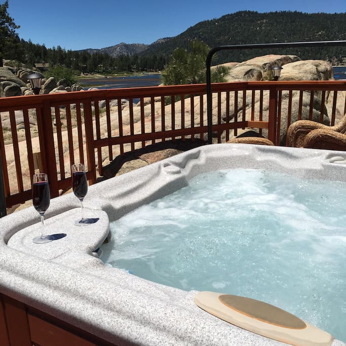 Hot Tub located on deck below living room deck