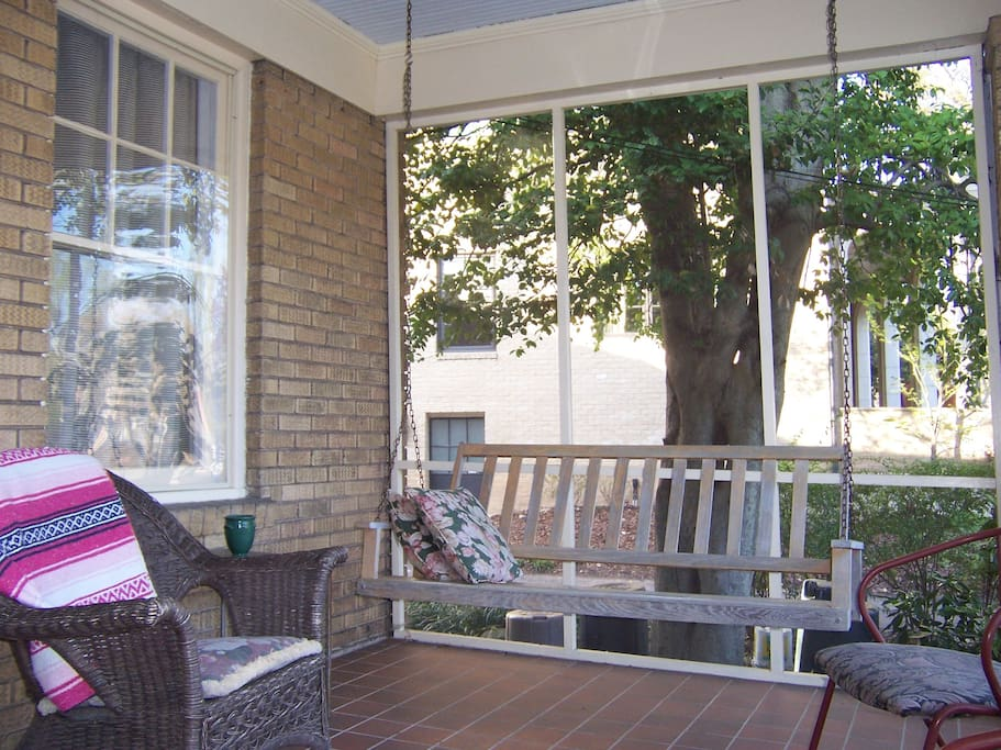 Front porch swing to read or people watch