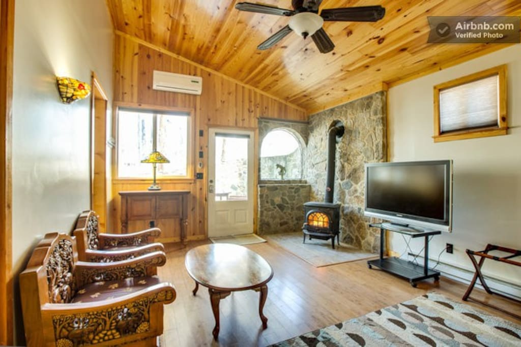 Sitting & TV area in the bedroom with woodstove.
