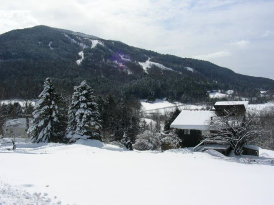 Winter at The MoonShine Inn with views of Ascutney Mountain