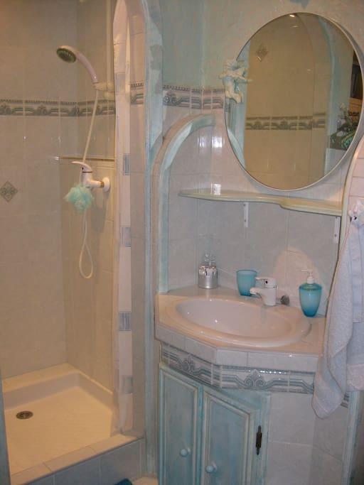 salle d' eau  douche et meubles de rangements