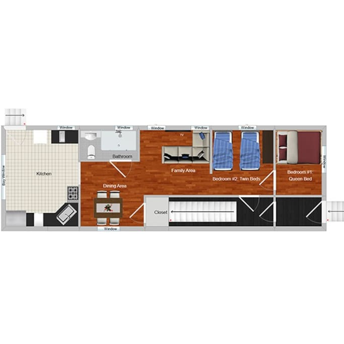 Floor Plan. Private apartment with both an entrance and exit.