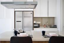 Kitchen - 2 Door Fridge & Freezer, Oven Toaster, Microwave Oven, Conventional Oven, Basic Cooking Pots, Pans & Utensils, Dinnerware & Cutleries