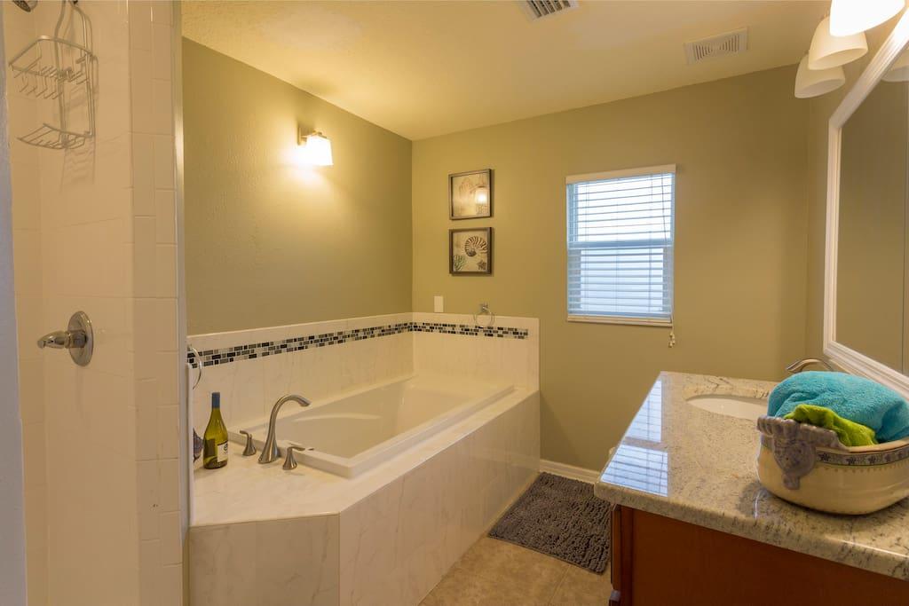 master bath, with garden tub & separate shower