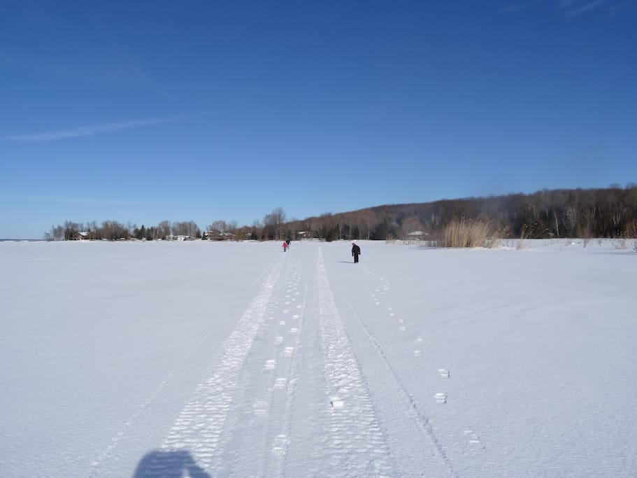 Snowmobile Trail in our backyard
