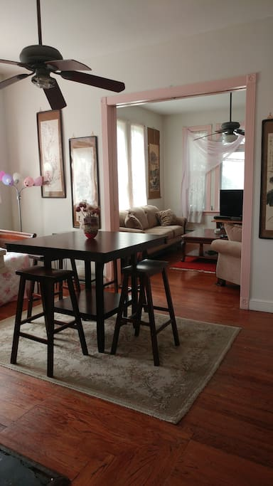 Beautiful dining room with a daybed for relaxation or sleeping plus a queen sized, full height air mattress, should you need to sleep seven.