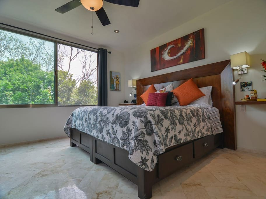 The master suite has tons of light and air.