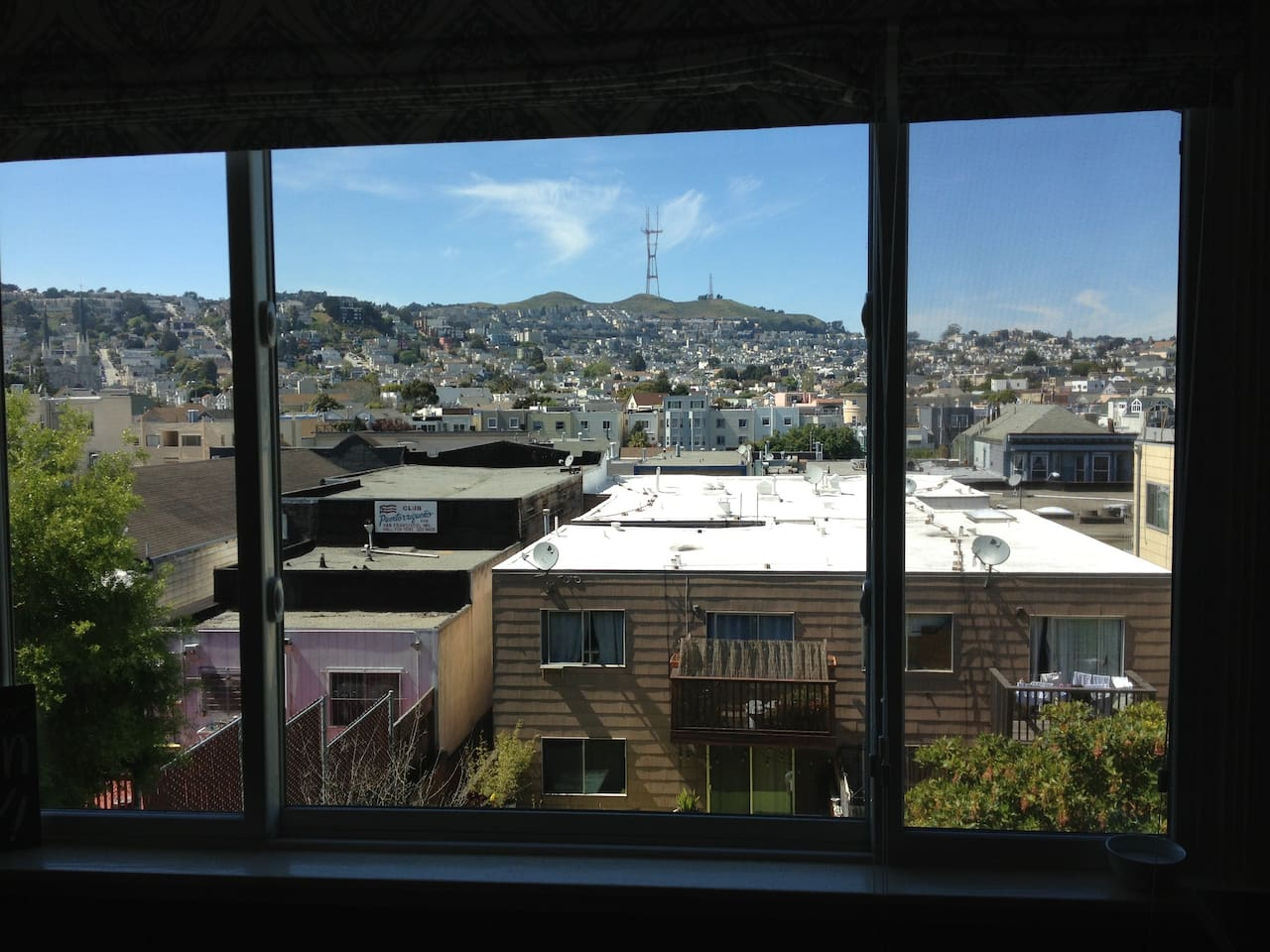 Fab views of Twin Peak form front office/spare bedroom.  So close to everything, yet, so quiet!