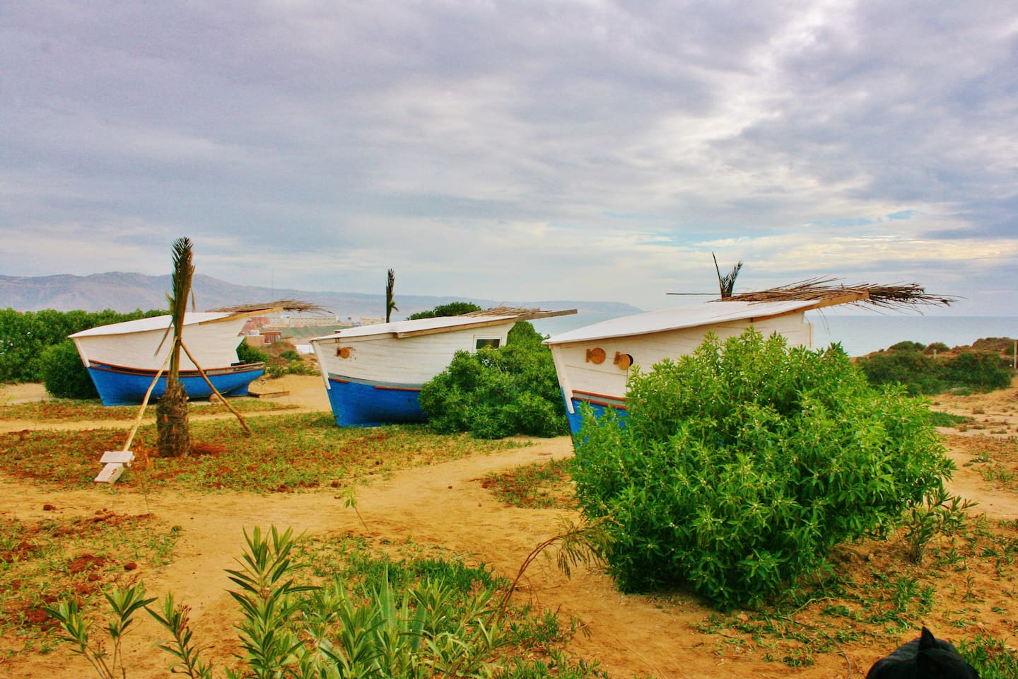 Ocean Front PODS made from traditional fishing boats.