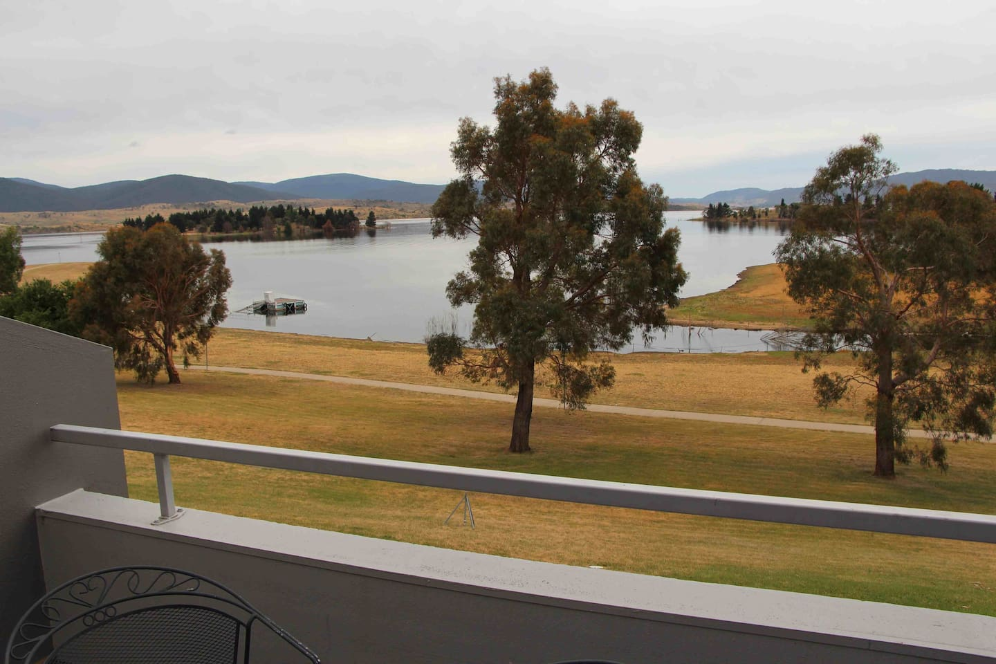 View from balcony!!! Path along lake edge.