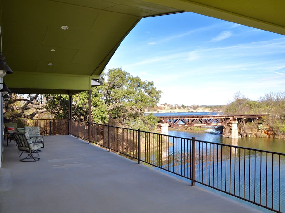 Upper patio with view of cove and Lake LBJ