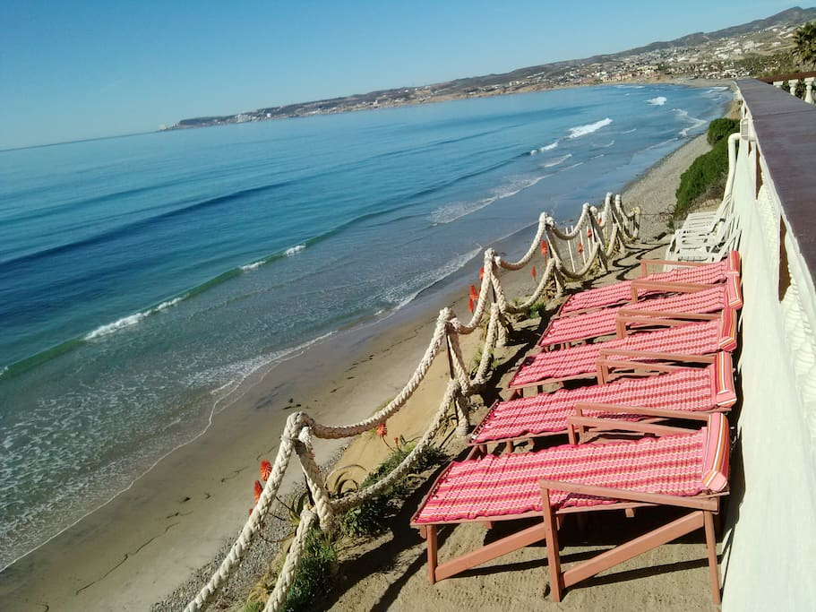 OUR PRIVET BEACH IN FRONT OF THE PACIFIC OCEAN.