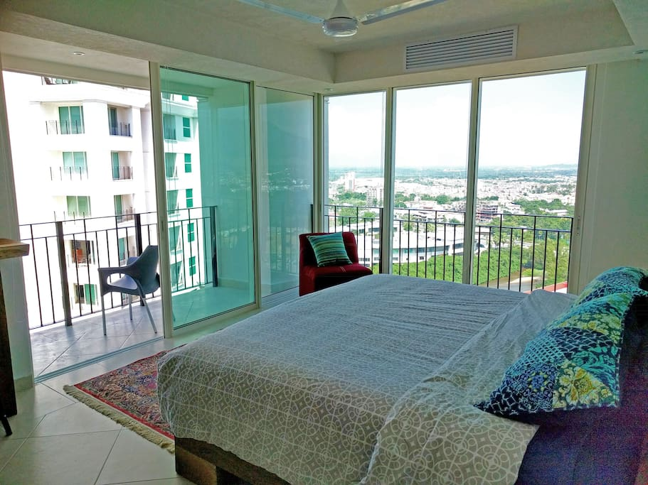 Master bedroom with mountians and ocean view