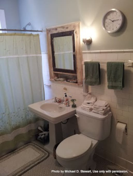Roomy vintage jack and jill style bathroom