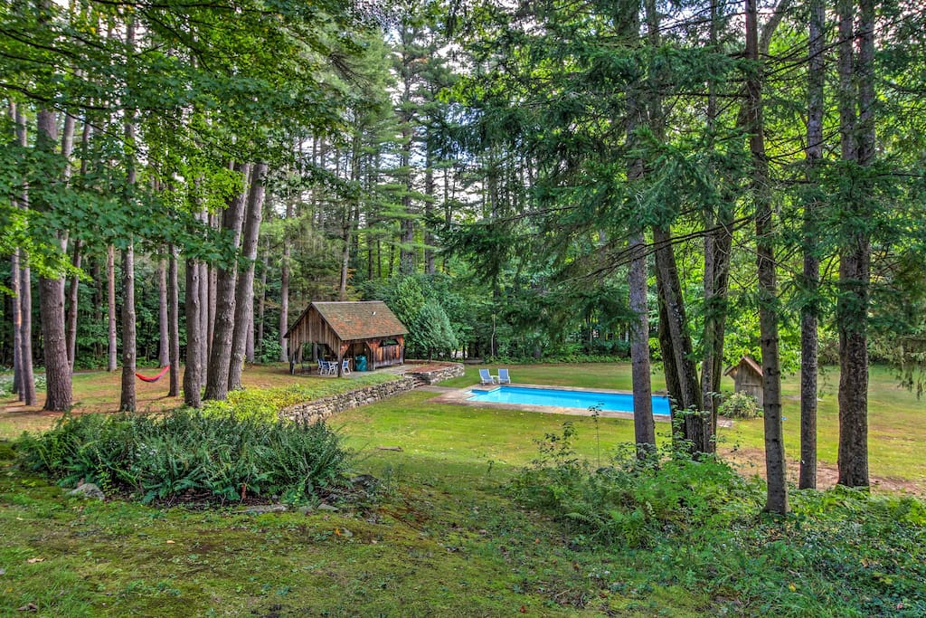 The home sits on 7 acres and has an in-ground pool.