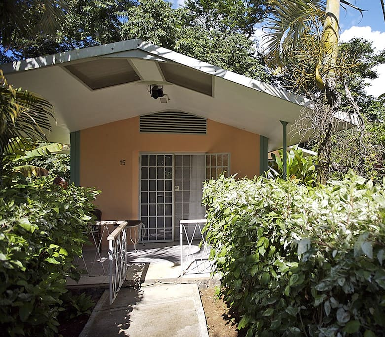 Private entrance to the 2 bedroom cottage and furnished patio.