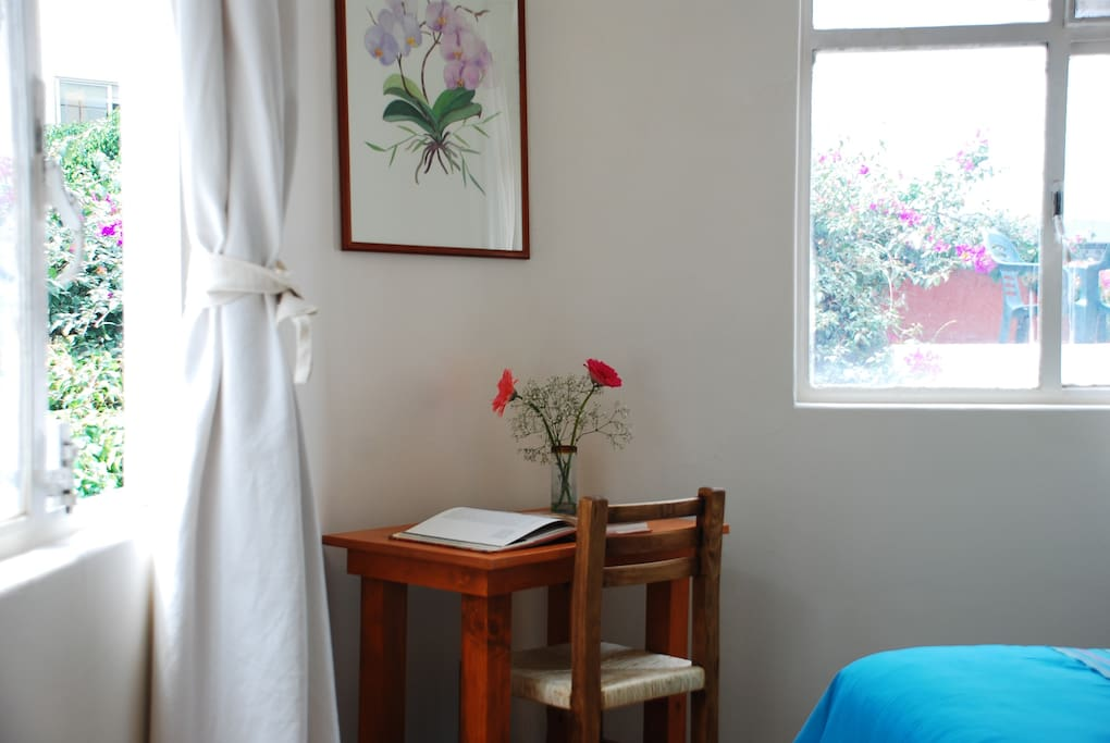 ORCHID BEDROOM - Located at the second floor of the house, this room has 1 QUEEN SIZE BED. In addition to working desk and private bathroom with shower .