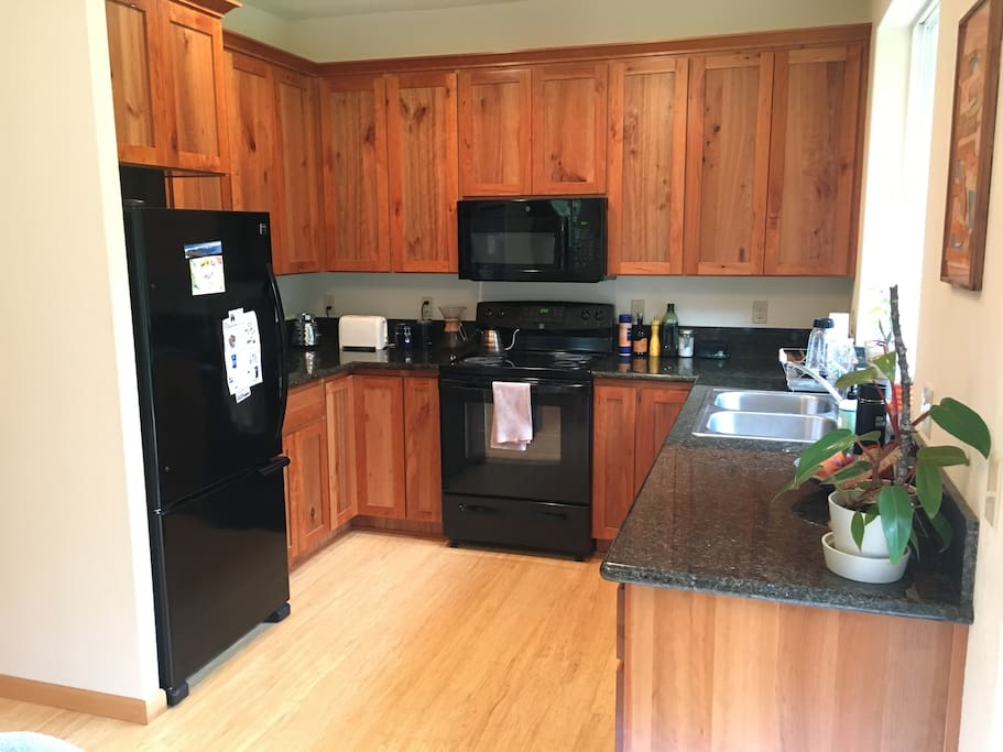Kitchen with all new appliances including dishwasher.