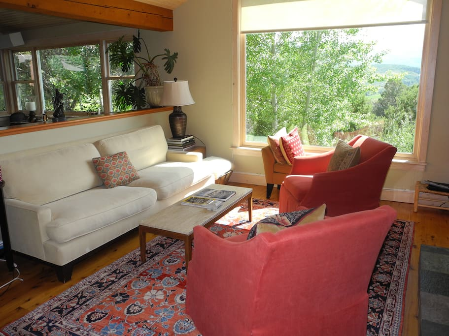 Living room with views south of the entire Snowmass Valley