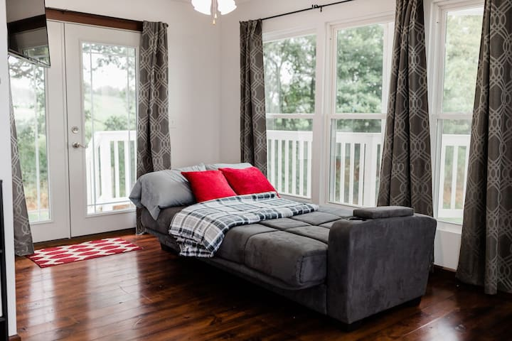 The sleeper sofa on the main floor (in the bed position)