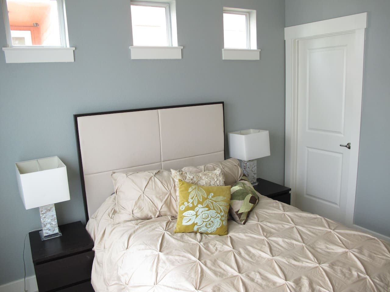 Comfy room with has full size walk in closet