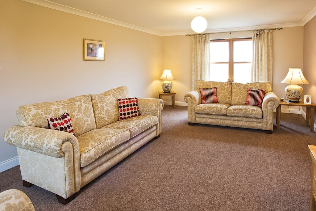Large bright lounge with comfy sofas to unwind, read or watch TV