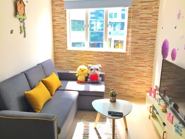 5分钟直达湾仔地铁站!1卧1厅1卫特大床5mins Wan Chai Metro,Queen bed
