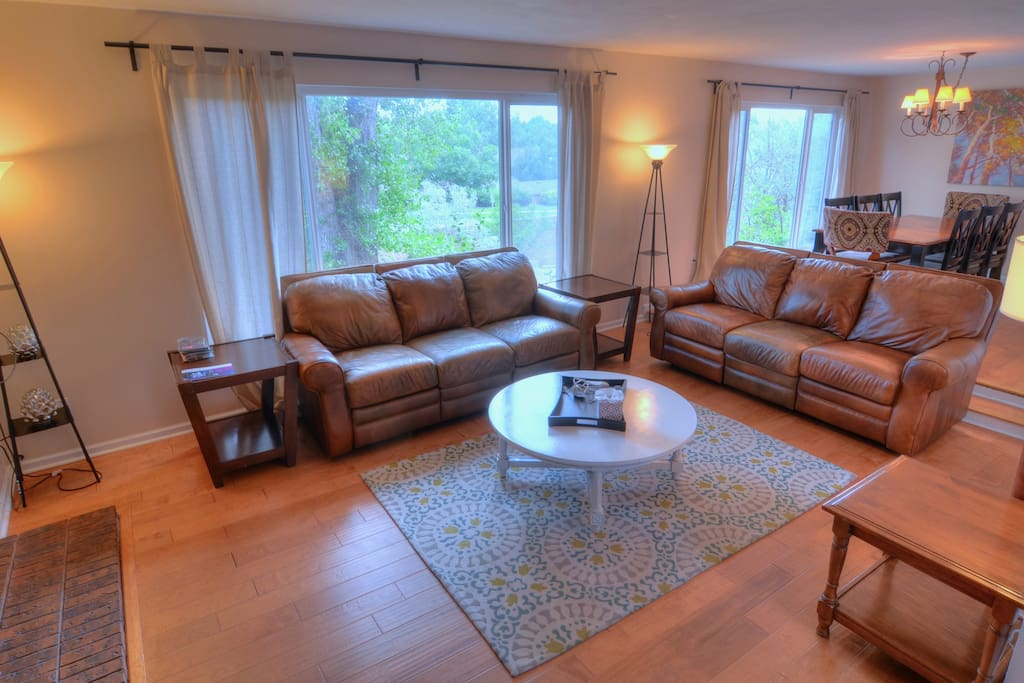 Relax in this spacious home on our super comfortable leather reclining sofas