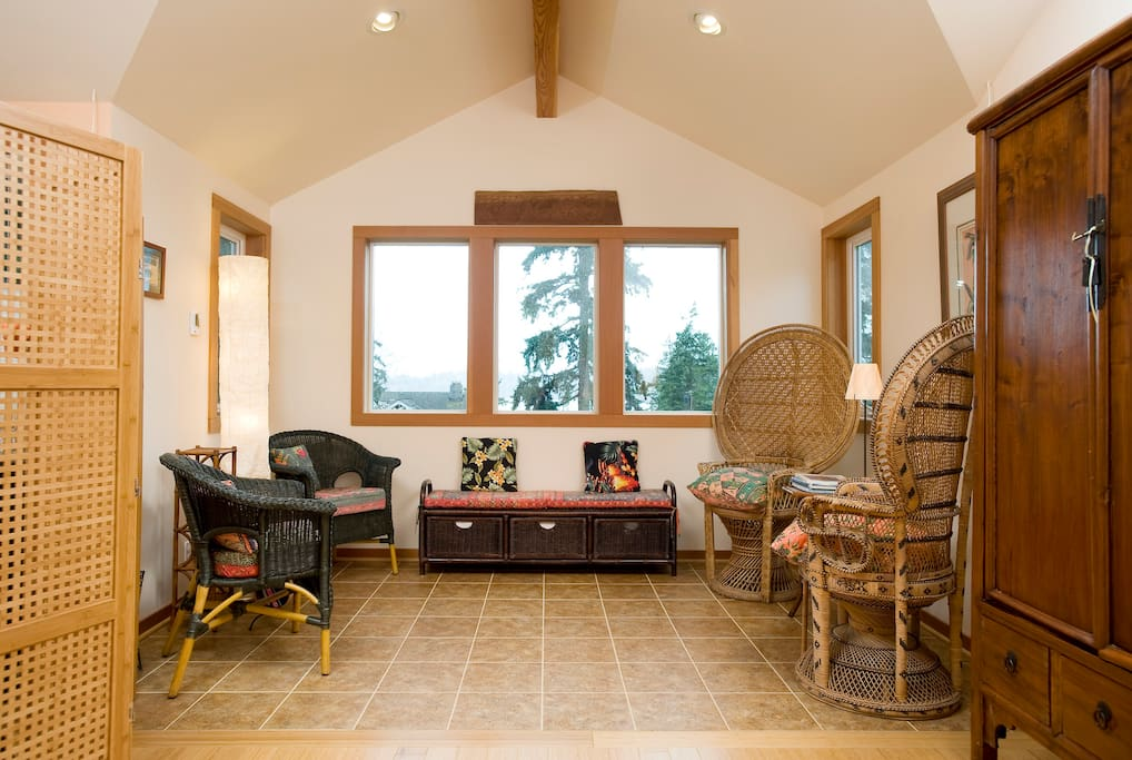 Sitting area has great views and heated tile floor.