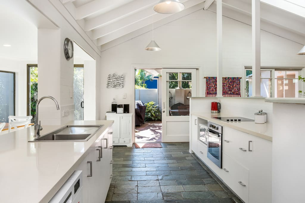 Recently modernised kitchen opening onto front courtyard