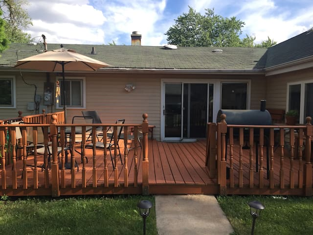 The back deck is large and inviting!