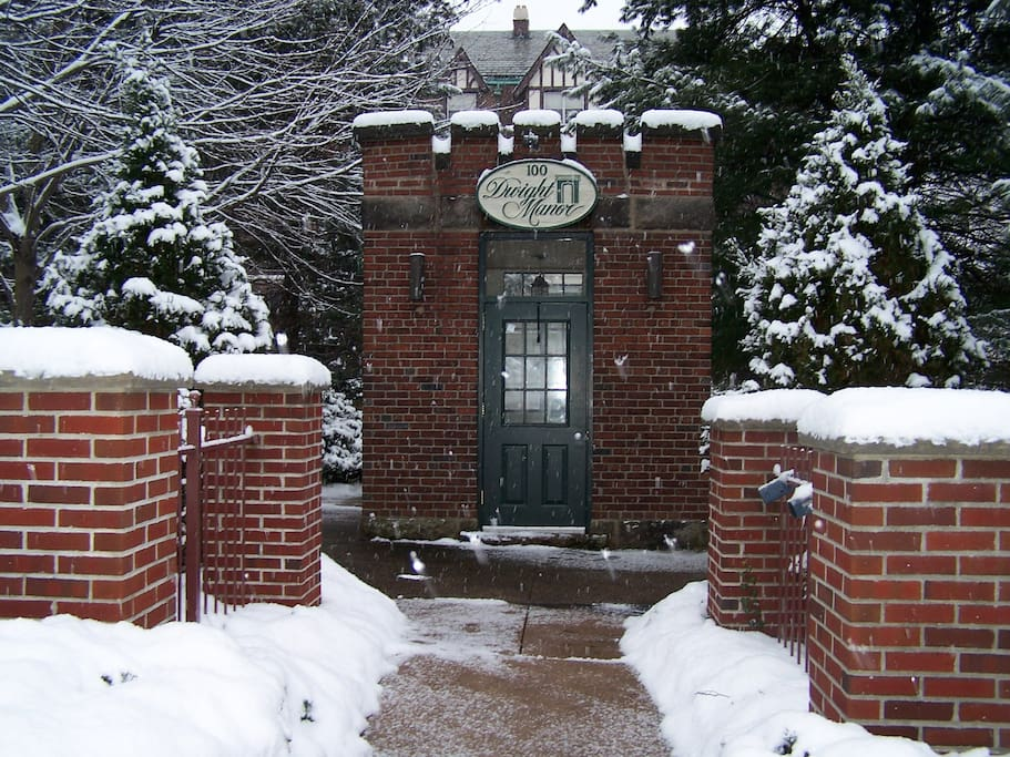 This is what the entrance to the complex looks like--although there might be less snow depending on when you visit!