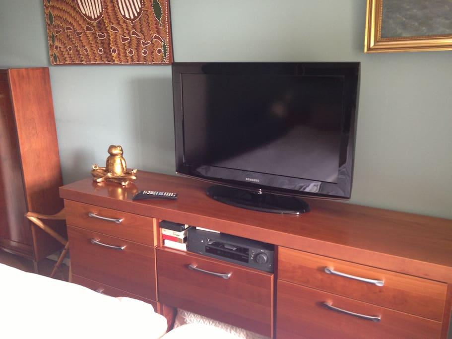 Flatscreen tv in the bedroom