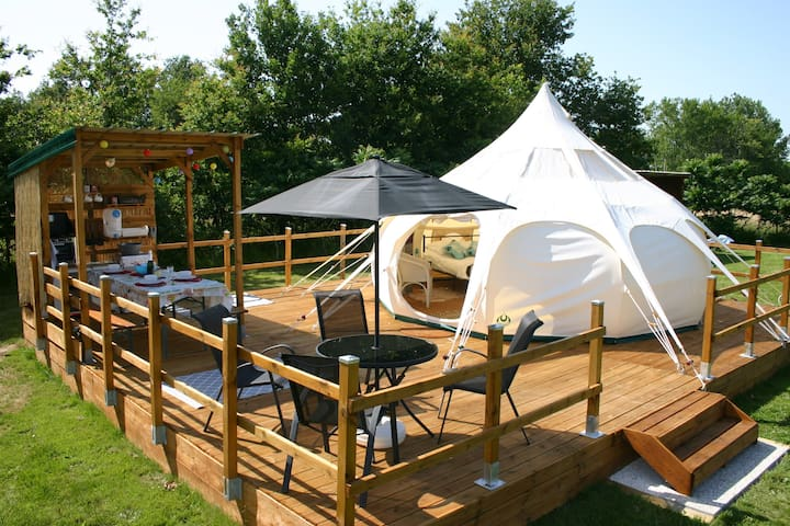 Glamping in the Dordogne in a Lotus Belle tent